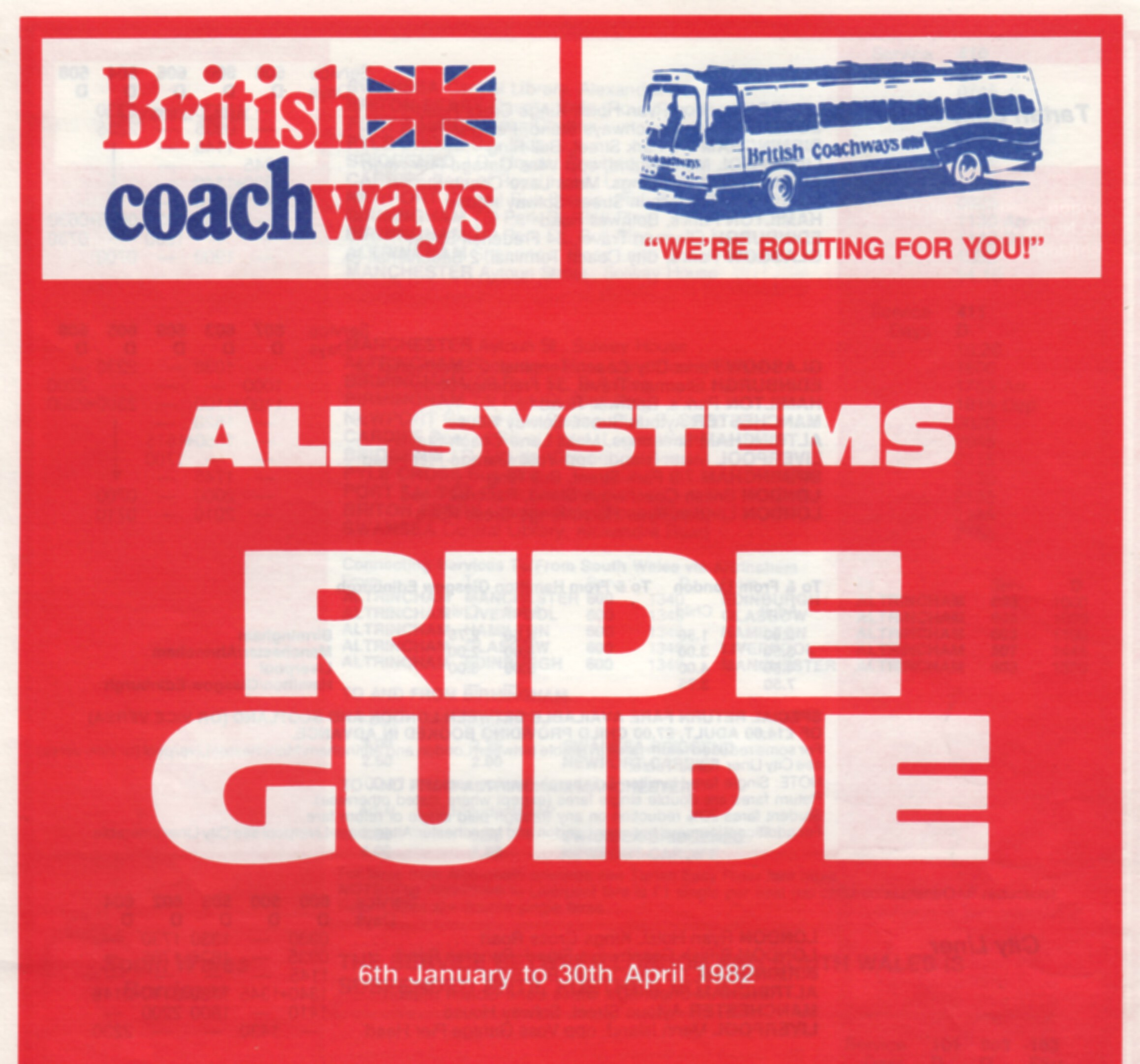 Ride Guide timetable January 1982