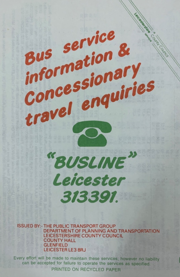 rear cover of 1990 Rutland Flyer timetable