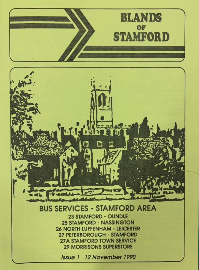 cover of Blands of Stamford 1990 timetable leaflet