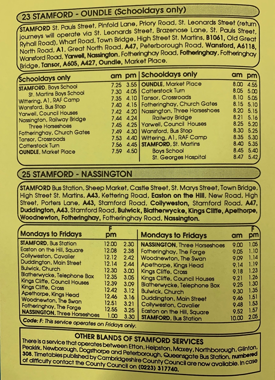 page 1 of 1990 timetable Blands of Stamford