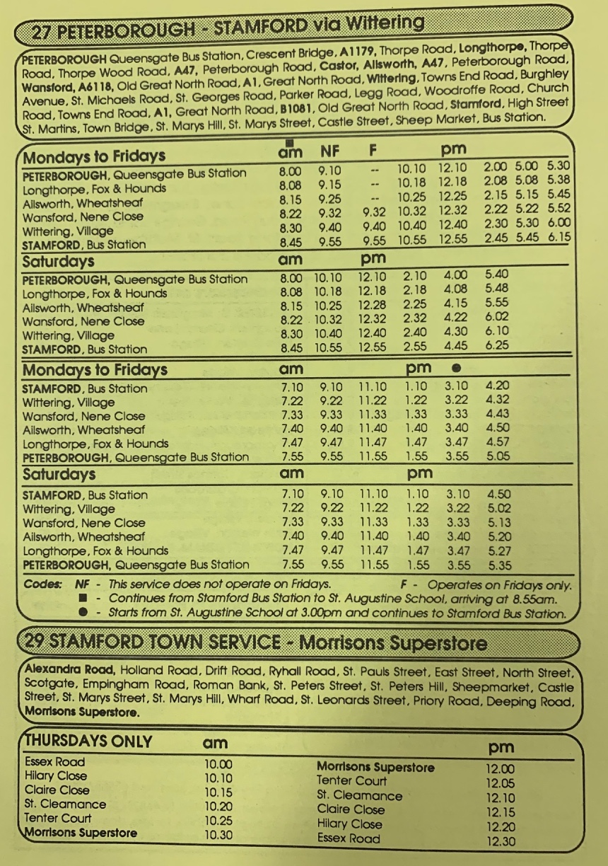 page 3 of 1990 timetable Blands of Stamford, Peterborough service