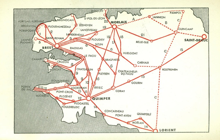 map of routes CTF 1958