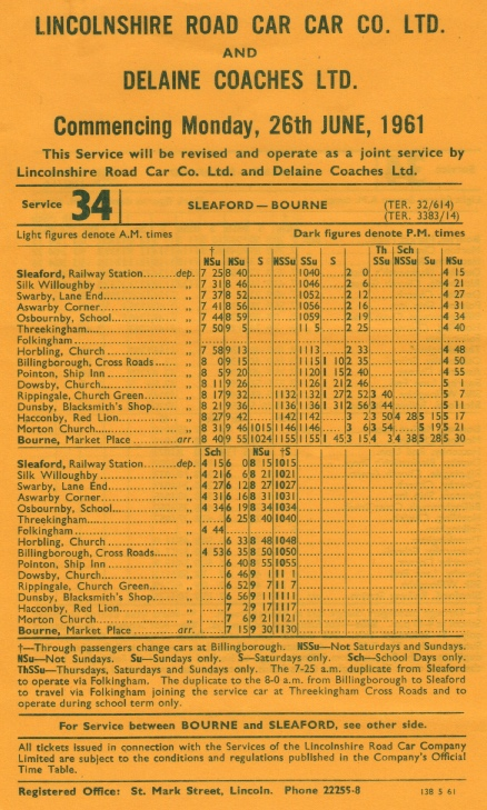 1961 timetable joint route 34 Sleaford to Bourne