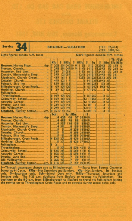 1961 timetable joint route 34 Bourne to Sleaford