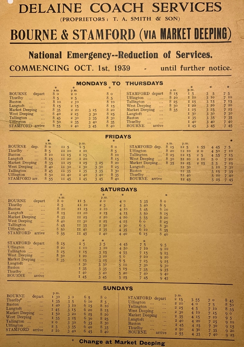 emergency timetable 1939 for Stamford via Deeping route