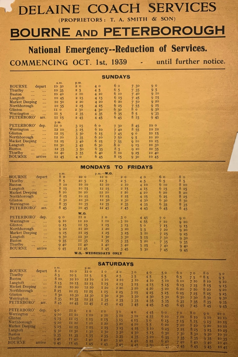 emergency timetable 1939 Peterborough route