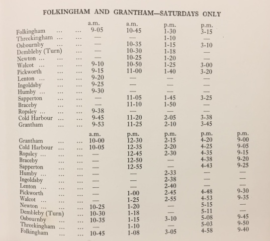 booklet Grantham timetable