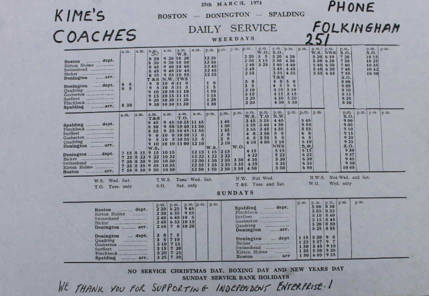 March 1974 timetable ex-Camplin route Boston-Spalding