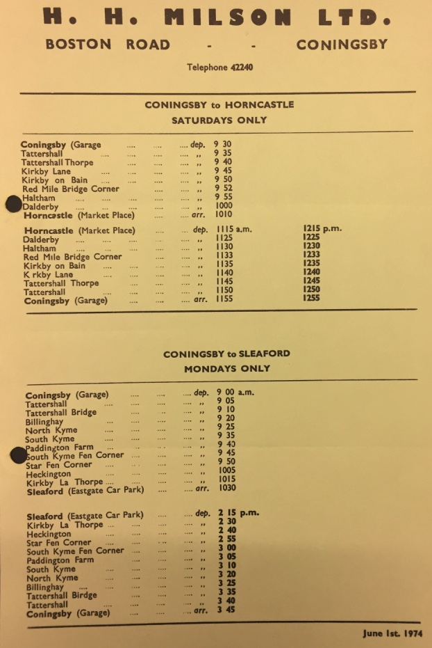Milson 1974 timetable Horncastle and Sleaford routes