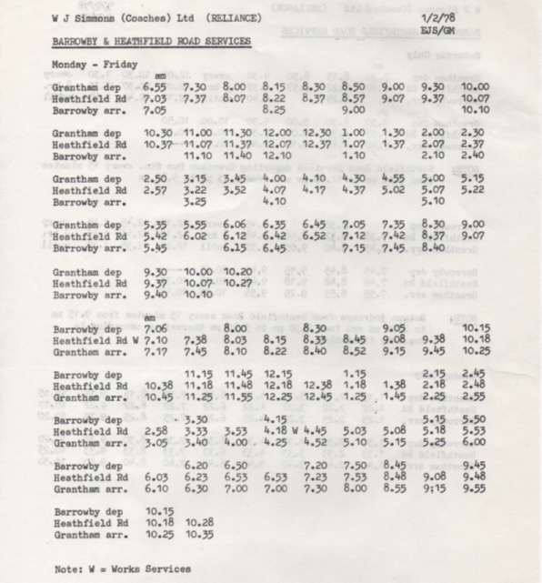 1978 Reliance timetable Barrowby weekdays