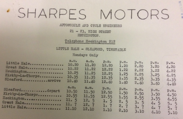 later timetable Sharpe of Heckington c1977