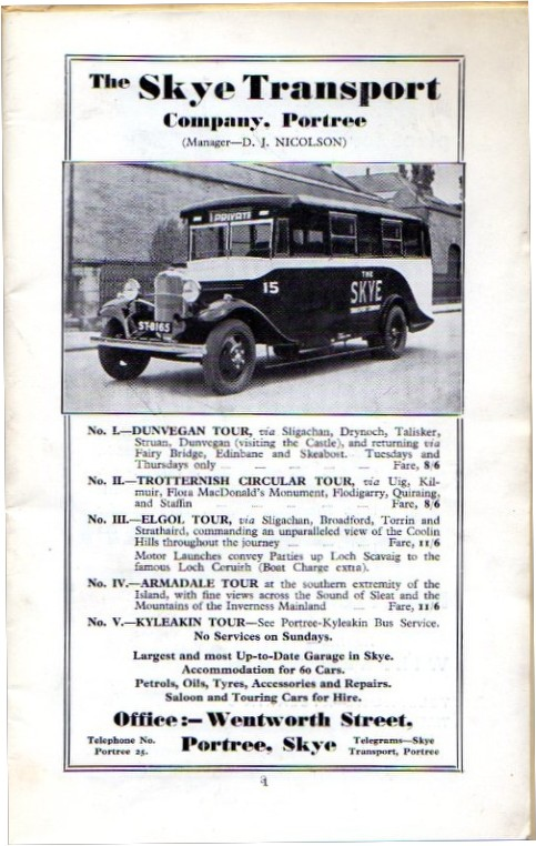 tours by Skye Transport 1939
