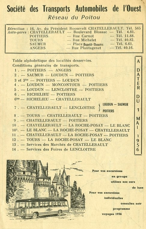 Reseau Poitou 1956 list of routes