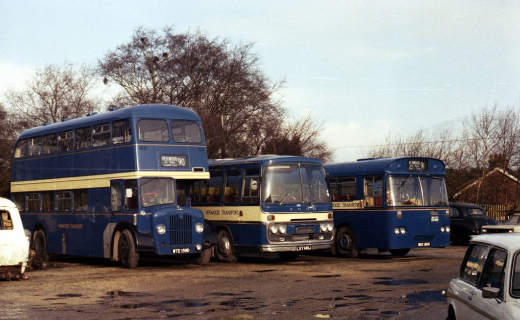 a line up of Verwood Transport vehicles in January 1983