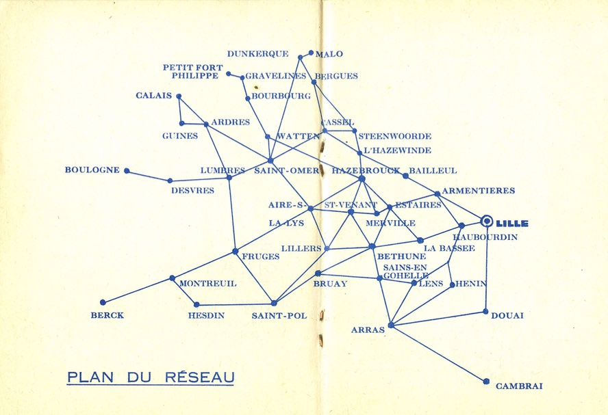 1964 plan of Citroen routes for the Lille network