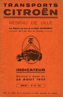 cover of Lille timetable 1933