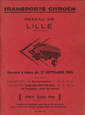 cover Lille timetable 1965