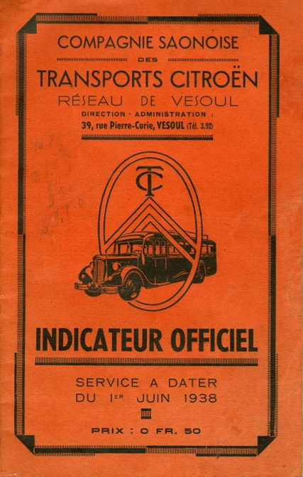 Cover of 1938 timetable TC Vesoul