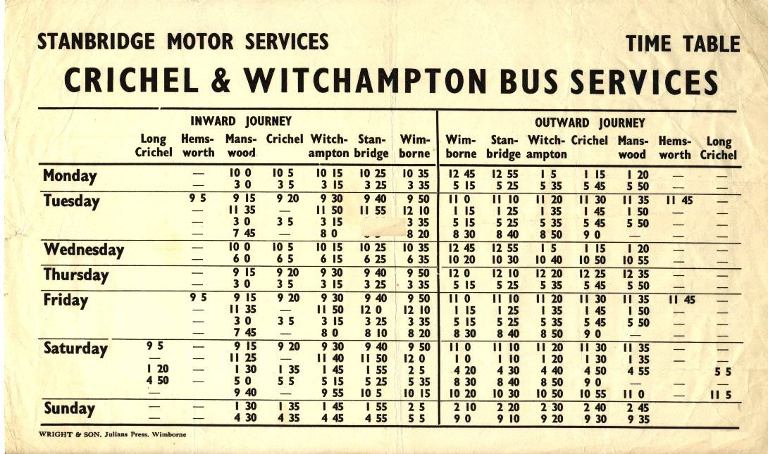 1960 timetable
