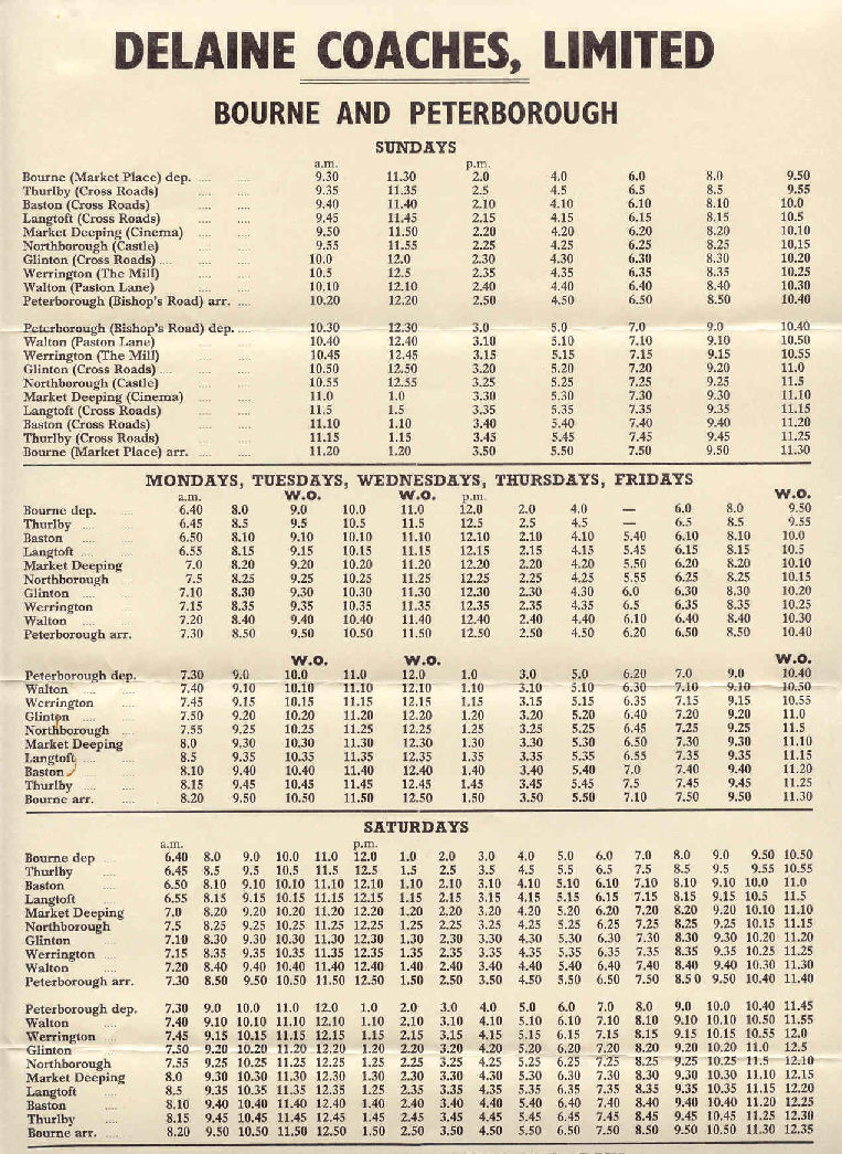 Timetable Bourne to Peterborough route