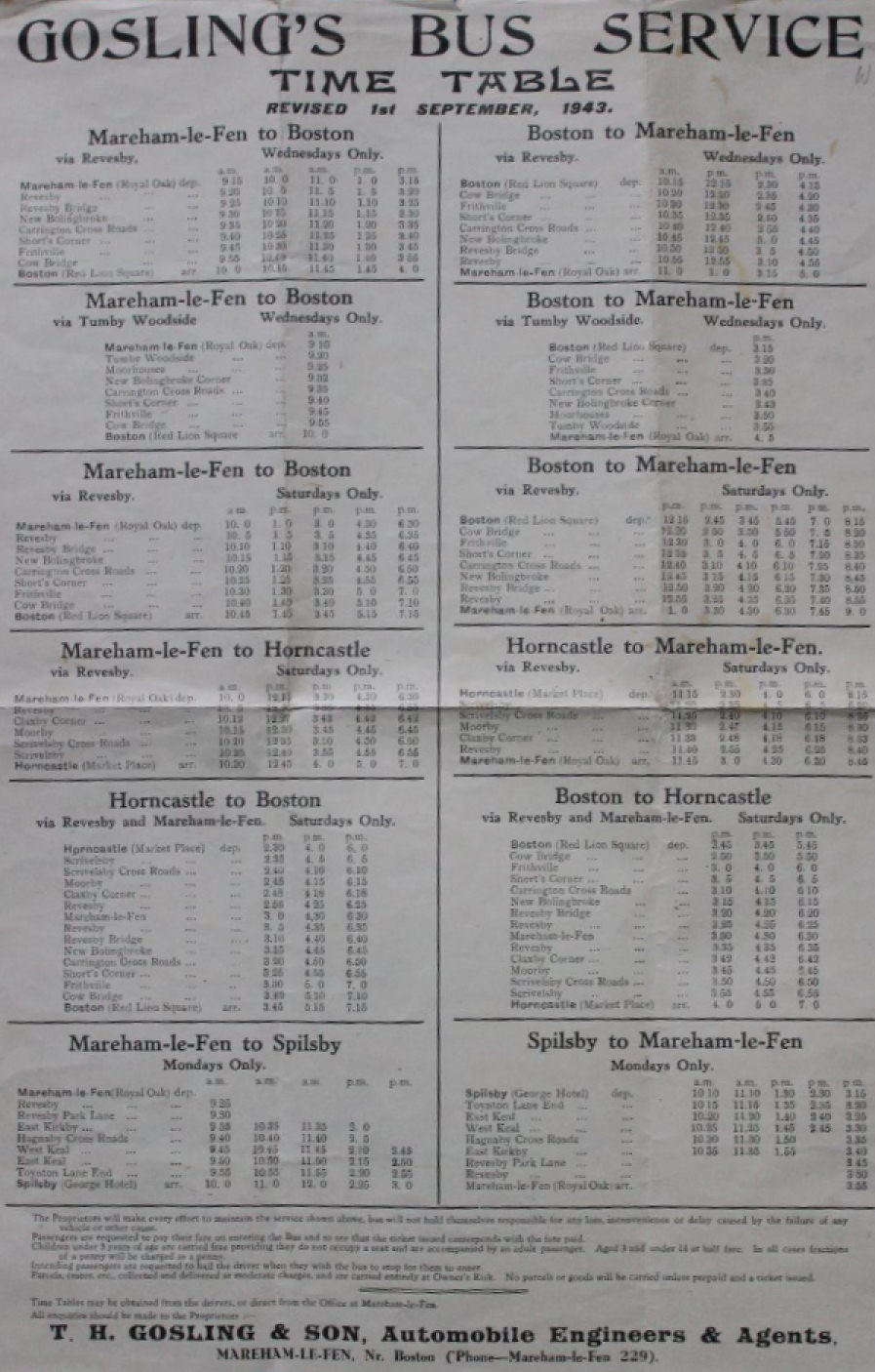 Gosling 1943 timetable