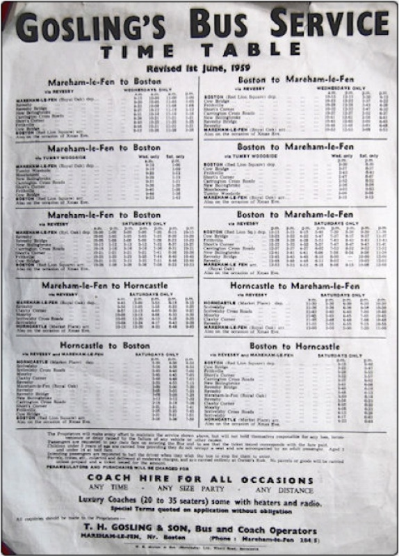Gosling 1959 timetable