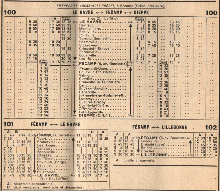 1945 timetable
