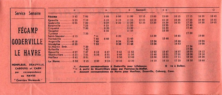 Timetable 1973 Goderville