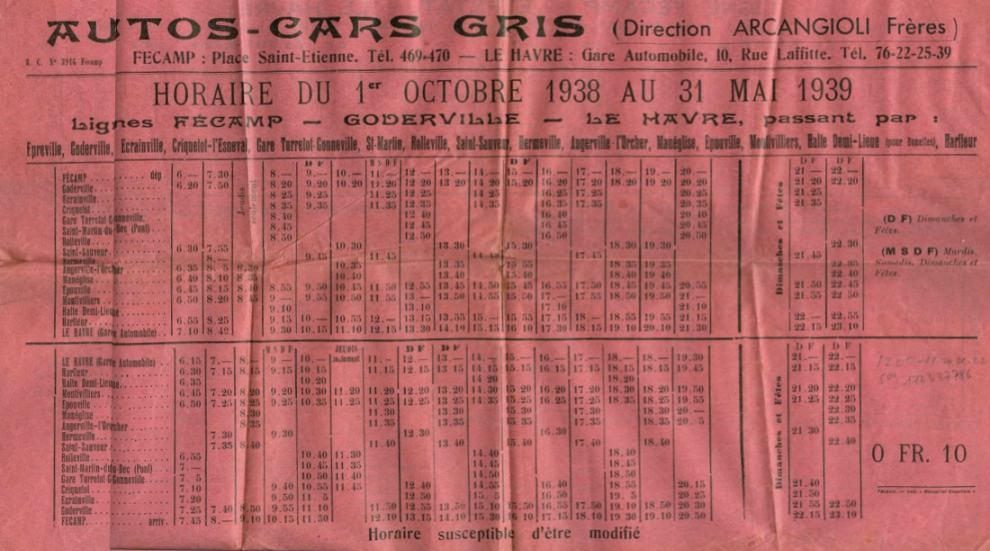1938 timetable page 1
