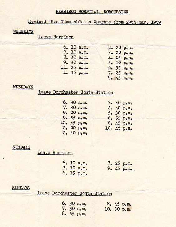 1959 timetable