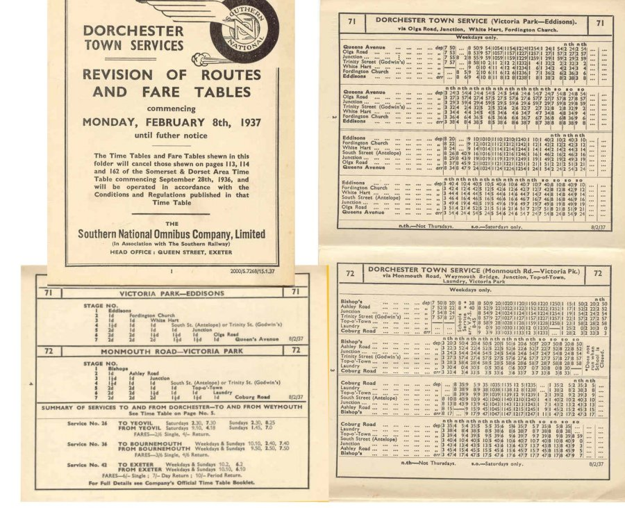Southern National times and fares 1937