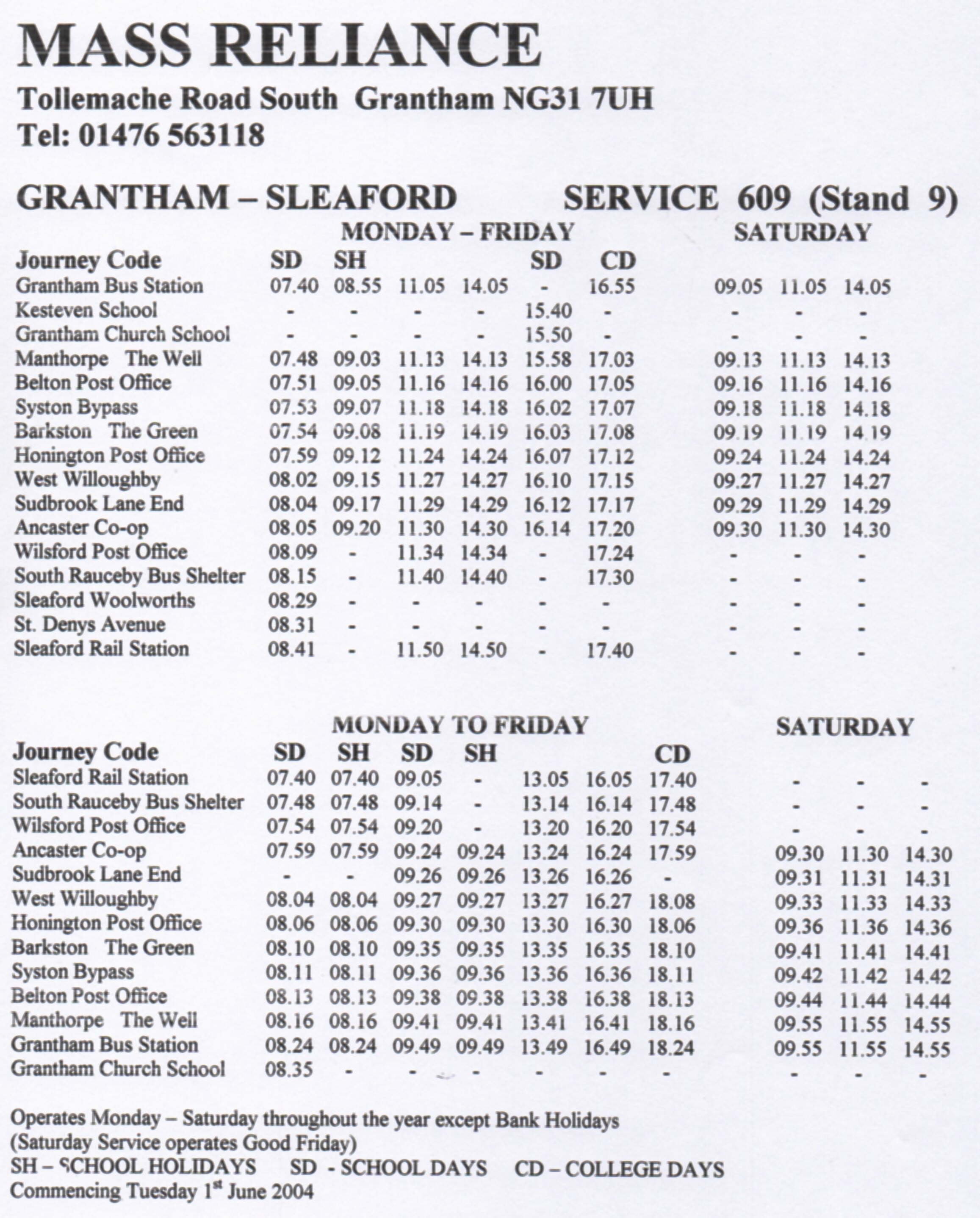 Mass Reliance timetable 609 route June 2004