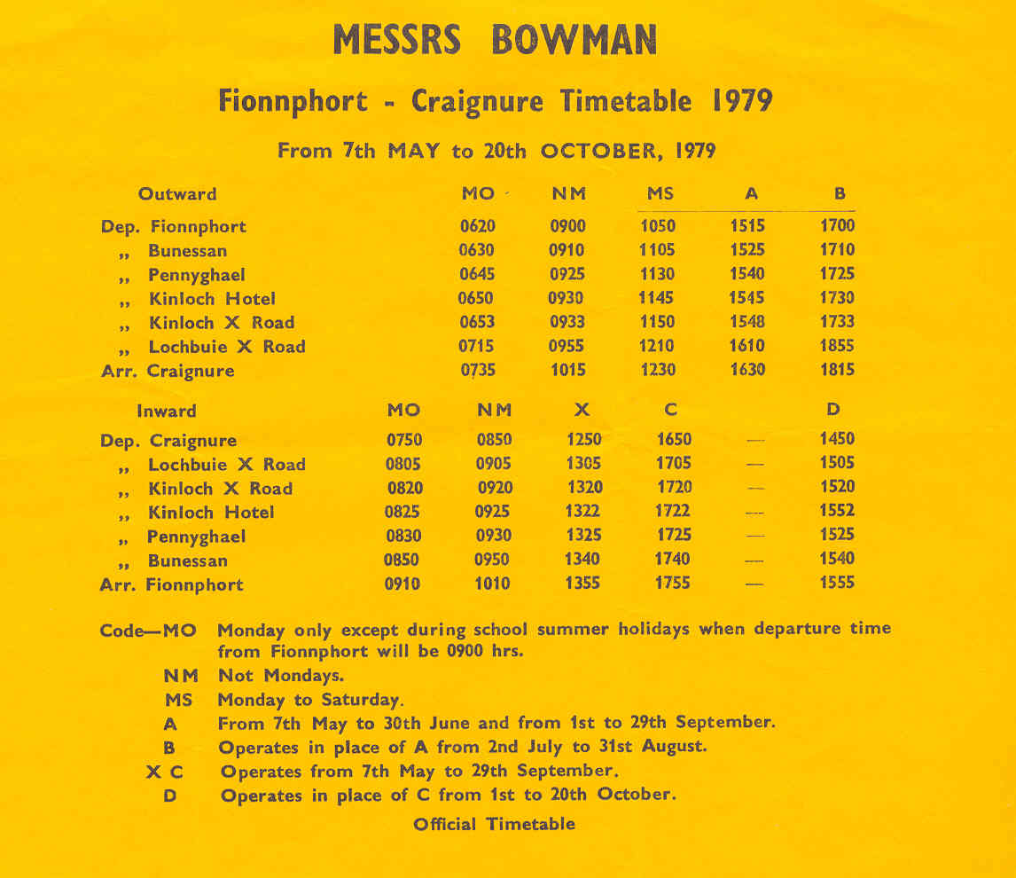Bowmans timetable to Iona Ferry 1979