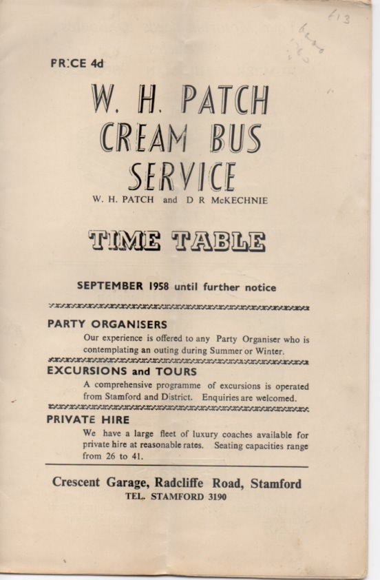 1958 Cream Bus Service timetable
