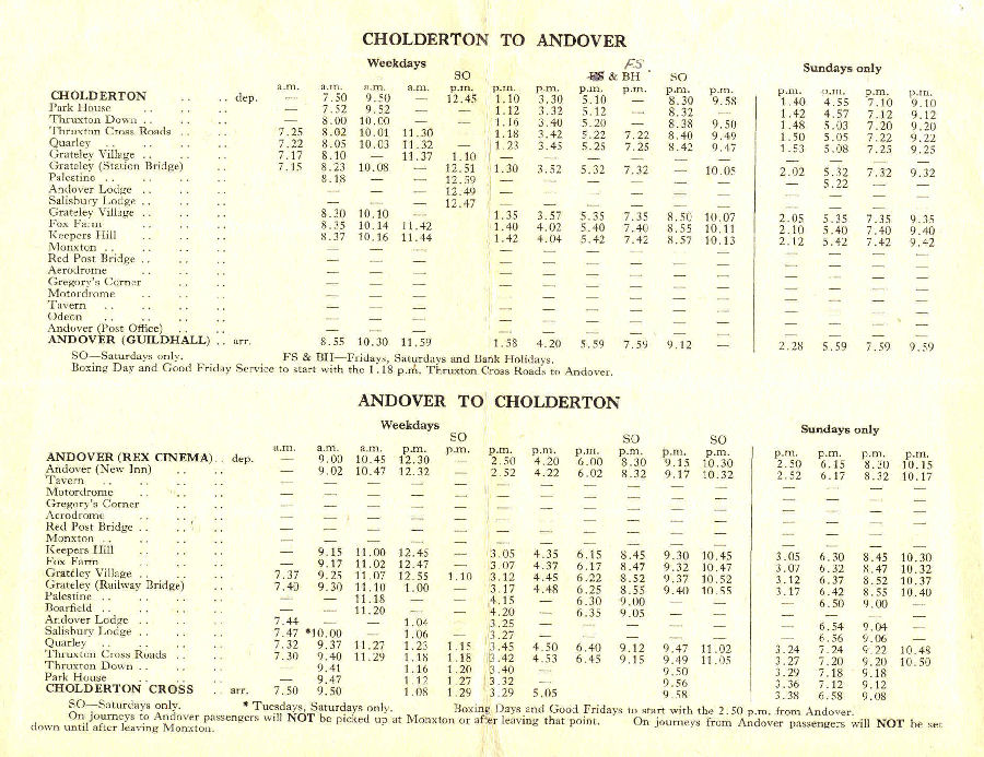 1954 timetable