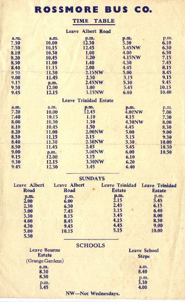1950 timetable