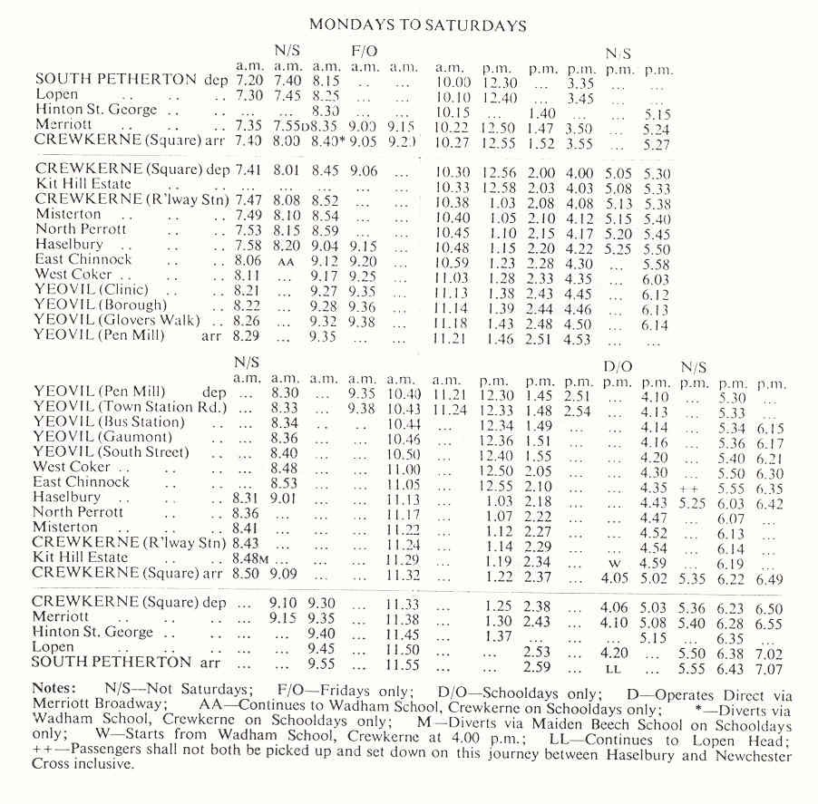 1978 timetable