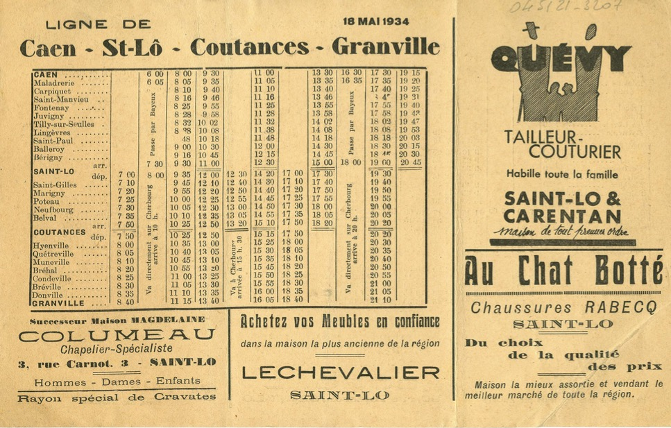 May 1934 timetable Rapides de Normandie Caen Granville