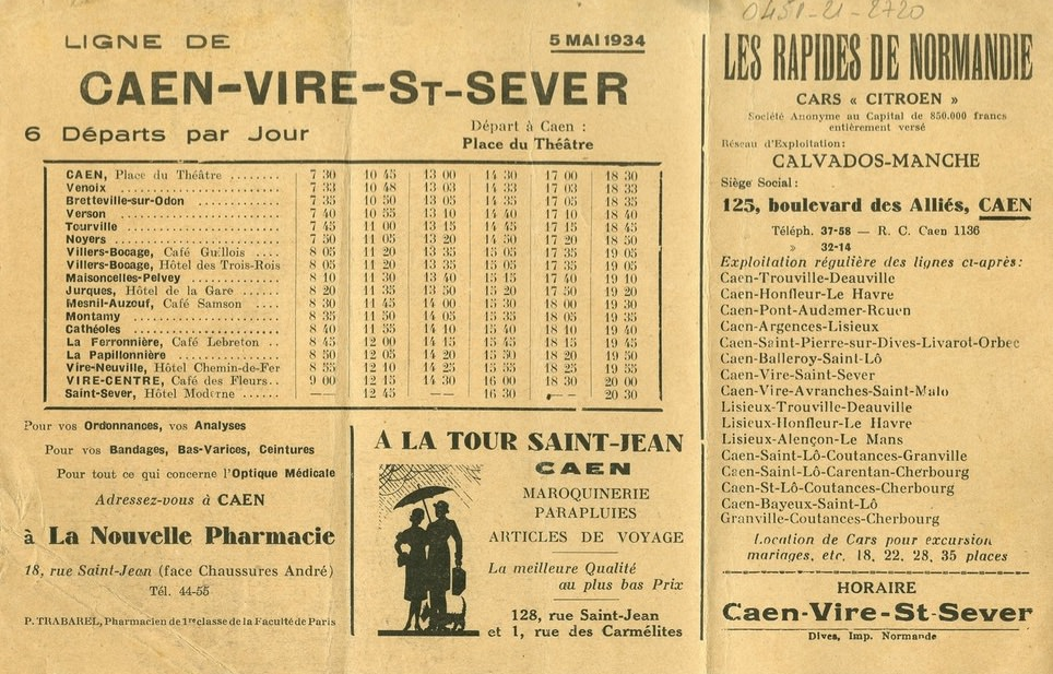 May 1934 Rapides de Normandie timetable Caen Vire