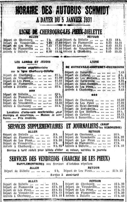January 1931 timetable Autobus Schmidt