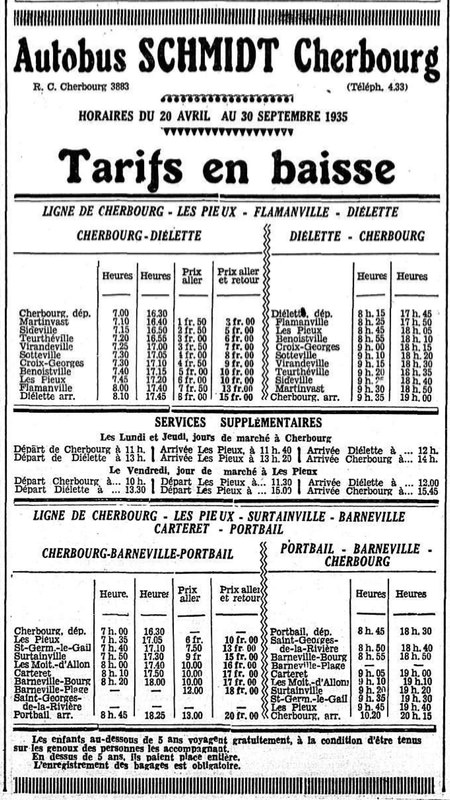 Timetable April 1935 Autobus Schmidt