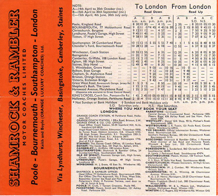 London express timetable 1950s
