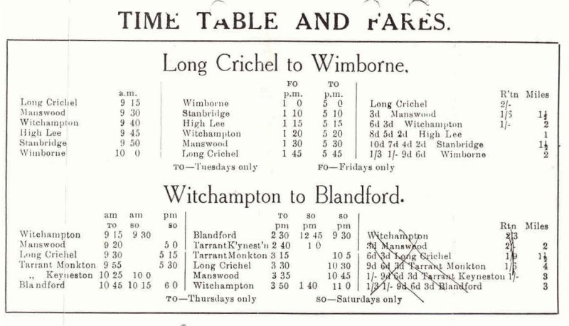 Toomer's timetable from the 1930s