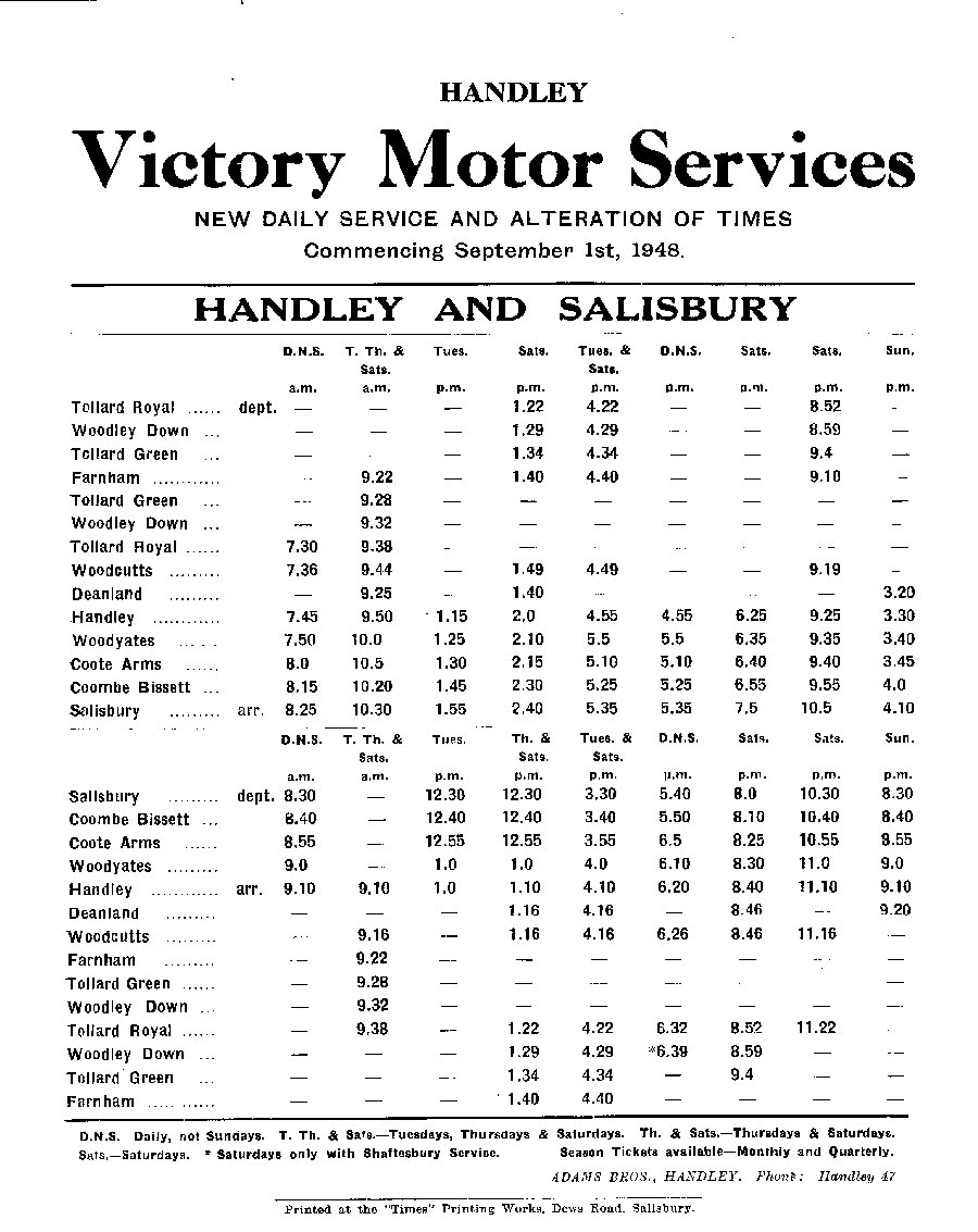 1948 timetable