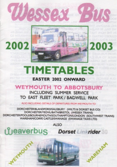 wessexbus weymouth timetable 2002