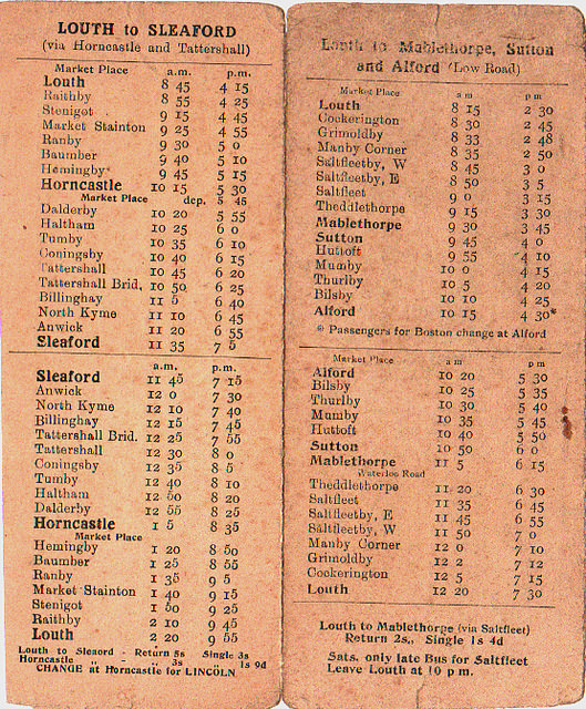 early Wrights timetable from LVVS collection